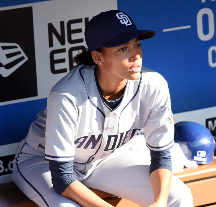 """In this undated photo provided by FOX, actress Kylie Bunbury is shown in the """"The Interim"""" episode of """"Pitch"""" which is airing Thursday, Sept. 29, 2016. Remarkably, the lead actress and lead writer of """"Pitch"""" have been asked by strangers whether the Fox TV series about the first woman in the major leagues is based on a true story. (Ray Mickshaw/Fox via AP)"""
