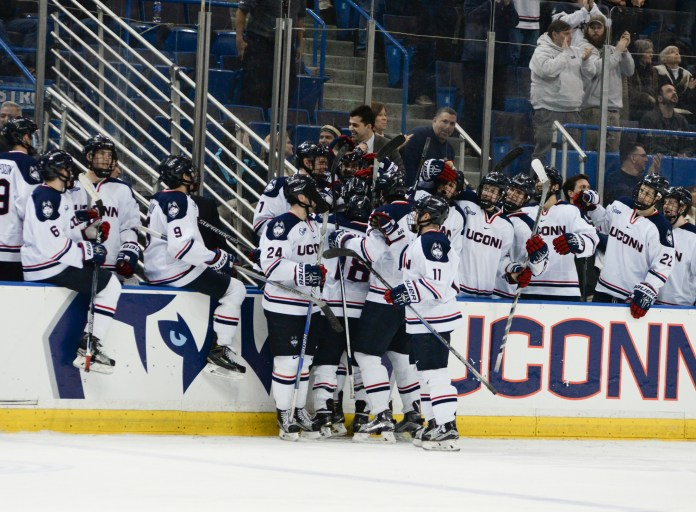 The men's hockey team celebrates a special senior night by defeating the University of New Hampshire 4-1 on Friday, Feb. 26, 2016. Starting Friday, Coach Mike Cavanaugh will be entering his fourth year at the helm for UConn in 2016-17.(Amat Batra/The Daily Campus)