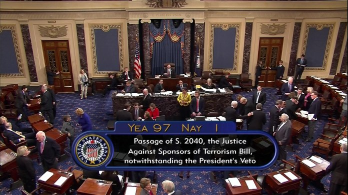 This frame grab from video provided by C-SPAN2, shows the floor of the Senate on Capitol Hill in Washington, Wednesday, Sept. 28, 2016, as the Senate acted decisively to override President Barack Obama's veto of Sept. 11 legislation. (C-SPAN2/AP)