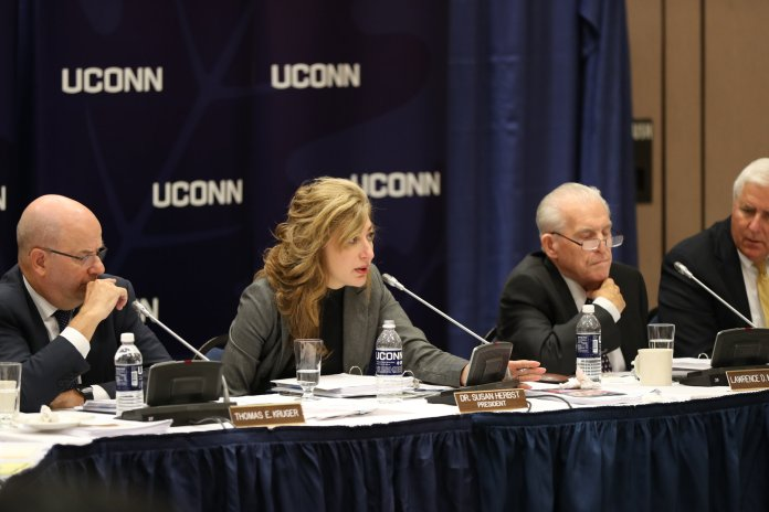 The University of Connecticut Board of Trustees hold their board meeting with President Herbst as well as many other administrators and faculty. They discussed various topics ranging from the closure of an art gallery on the Avery Point campus to petitions that hope to prevent the demolition of the historic houses on Faculty Row.(Owen Bonaventura/The Daily Campus)
