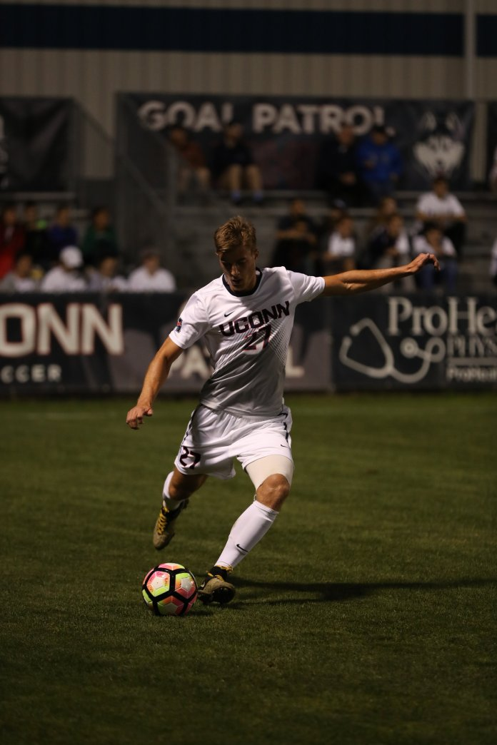 UConn Men's soccer defeats Temple 1-0 during the conference opener at Morrone Stadium, on Saturday, Sept 24, 2016. Game winning goal was scored by #11 Adbou Thiam. (Jason Jiang/The Daily Campus)