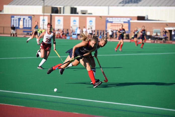 UConn field hockey beat Temple with an overall score of 6-0 on Friday afternoon. (Zhelun Lang/The Daily Campus)