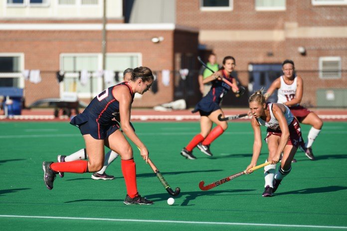 Freshman midfielder Antonia Tiedtke drives the ball up the field during the Huskies 6-0 victory over temple on Friday, Sept. 22, 2016. (Zhelun Lang/The Daily Camous)