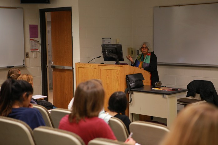 During the lecture, Kanchan talked about her works from early days to present and discussed the change between the time periods. Her talk was followed by a question and answer session with the students. (Junbo Huang/The Daily Campus)
