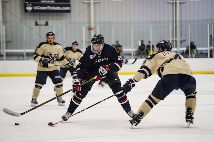 The Huskies will open the season taking on Alabama Huntsville. On Sat., Oct. 1,the UConn men's hockey team hosted an exhibition game against St. Francis Xavier. The X-Men traveled from Canada to defeat the Huskies 4-3.(Jason Jiang/The Daily Campus)