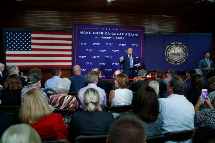 Republican presidential candidate Donald Trump speaks during a town hall, Thursday, Oct. 6, 2016, in Sandown, N.H. (Evan Vucci/AP Photo)