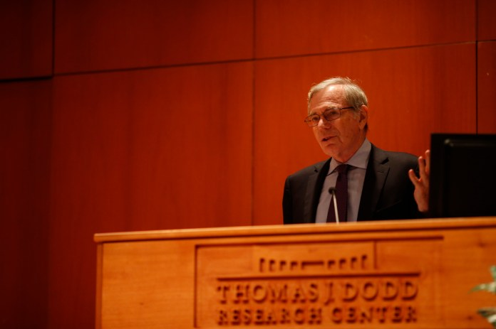 Eric Foner, DeWitt Clinton Professor of Columbia University, speaks on Tuesday about the Underground Railroad. Foner discussed the history behind the railroad in Konover Auditorium on Tuesday, Oct.11, 2016. (Tyler Benton/The Daily Campus)