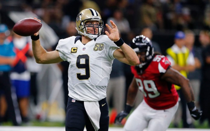 New Orleans Saints quarterback Drew Brees (9) passes in the second half of an NFL football game against the Atlanta Falcons in New Orleans, Monday, Sept. 26, 2016. (AP Photo/Butch Dill)