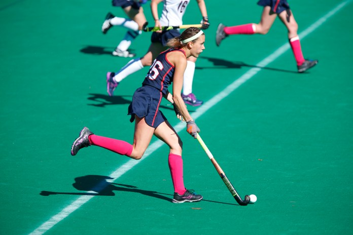 Junior, Charlotte Veitner, scored eight goals this past weekend, making her nine points shy of Lauren Henderson for the all-time points record of 214. (Tyler Benton/The Daily Campus)