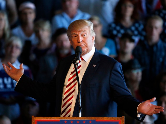 Republican presidential candidate Donald Trump speaks at a campaign rally, Tuesday, Oct. 18, 2016, in Grand Junction, Colorado. (Brennan Linsley/AP Photo)