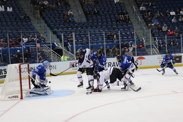UConn defeated Alabama Huntsville in the season home opener 4-0 on Saturday, Oct. 9, 2016 at the XL Center in Hartford. The Huskies swept Alabama 10-0 with a combined score for the weekend.Take Thompson (29) scored one goal in the first period. Evan Richardson (19) scored one goal in the third period. Spencer Naas (8) scored two goals, one in the first period and one in the third. (Amar Batra/ The Daily Campus)