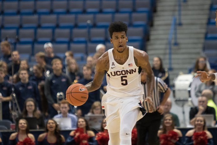 Freshman forward Vance Jackson controls the ball during UConn's 83-68 win over the University of New Hampshire on Sunday, Oct. 30 at the XL Center in Hartford. Jackson impressed in his Husky debut, netting a team-best 15 points for the day. (Jackson Haigis/The Daily Campus)