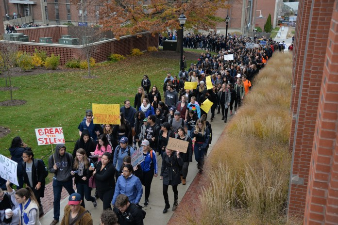 """Students participate in the """"Rally for the People"""" to protest the election results on Wednesday, Nov. 9, 2016. (Amar Batra/The Daily Campus)"""