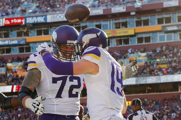 Minnesota Vikings wide receiver Adam Thielen (19) celebrates his touchdown with offensive tackle Jake Long (72) during the first half of an NFL football game against the Washington Redskins in Landover, Md., Sunday, Nov. 13, 2016. (Alex Brandon/AP)