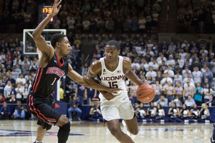 Redshirt senior guard Rodney Purvis dribbles past a Northeastern defender during the Huskies' loss on Monday, Nov. 14, 2016 at Gampel Pavilion. Purvis had 23 points in UConn's win over Chaminade in the Maui Jim Maui Invitational on Tuesday. (Jackson Haigis/The Daily Campus)