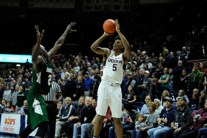 Freshman Vance Jackson takes a shot at UConn's 67-58 loss on Friday, Nov. 11 at Gampel Pavilion against Wagner College.(Jason Jiang/The Daily Campus)