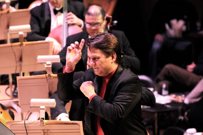 Keith Lockhart conducts the Boston Pops opening night show, Holiday Pops, on Dec. 7, 2011. (Courtesy/Boston Pops)
