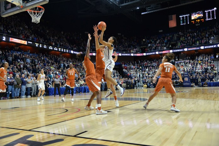The no. 2 Huskies defeated the no. 14 Texas Longhorns 72-54 during the Jimmy V classic at Mohegan Sun Areba. Napheesa Collier led the team in points, putting up 24. (Amar Batra/The Daily Campus)