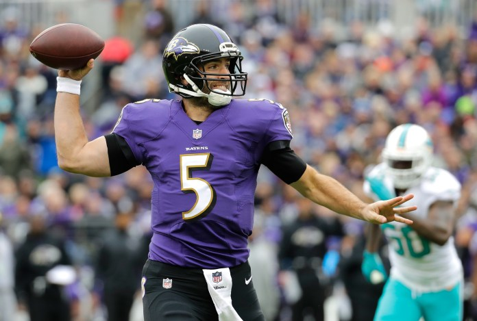 Baltimore Ravens quarterback Joe Flacco throws to a receiver in the first half of an NFL football game against the Miami Dolphins, Sunday, Dec. 4, 2016, in Baltimore. (Patrick Semansky/AP)