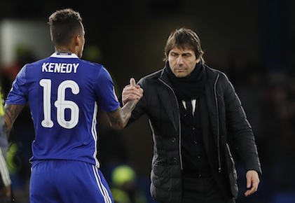 Chelsea's manager Antonio Conte, right, shakes hands with Chelsea's Kenedy after the English FA Cup soccer match between Chelsea and Brentford at Stamford Bridge stadium in London, Saturday, Jan. 28, 2017.Chelsea won the match 4-0. (AP Photo/Kirsty Wigglesworth)