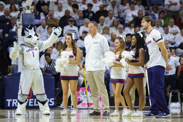 UConn football coach Randy Edsall was introduced during a TV timeout. Edsall was hired to replace Bob Diaco on December 28th.(Jackson Haigis/The Daily Campus)