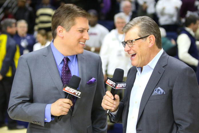 Geno Auriemma was all smiles while being interviewed by ESPN's Steve Levy after the game.(Jackson Haigis/The Daily Campus)