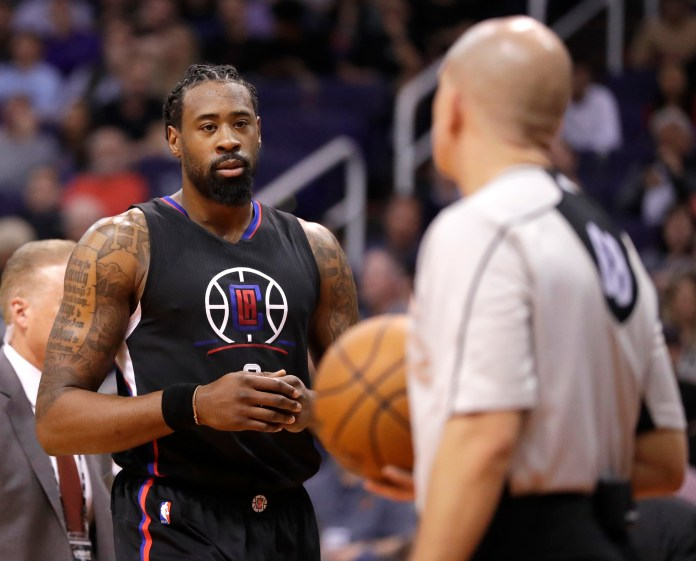 Los Angeles Clippers center DeAndre Jordan stares at a referee as he leaves the court after a flagrant foul call during the second half of the team's NBA basketball game against the Phoenix Suns, Wednesday, Feb. 1, 2017, in Phoenix.Jordan will be joining many others in the celebrity all-star game. (Matt York/ AP)