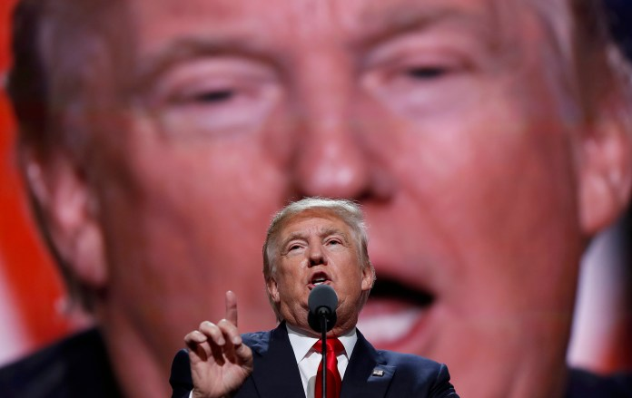 In this July 21, 2016 file photo, then-Republican Presidential Candidate Donald Trump speaks at the Republican National Convention in Cleveland.Trump has demonstrated more than once that he can project a more disciplined and presidential style when he wants, only to quickly slip back to his old ways. (Carolyn Kaster/AP)