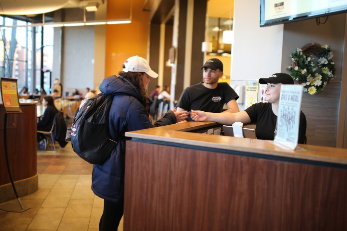 UConn students donated over 3,000 flex passes on March 2 for the Give a Meal event. The swipes were given to local food organizations.(Tyler Benton/The Daily Campus)