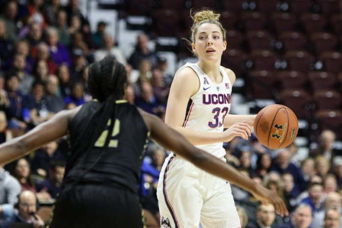 UConn guard Katie Lou Samuelson looks to pass during the Huskies' 78-56 win over UCF in the AAC semifinals on Sunday afternoon at Mohegan Sun Arena in Uncasville. Samuelson had 12 points, 5 rebounds, and 5 assists for UConn. (Jackson Haigis/The Daily Campus