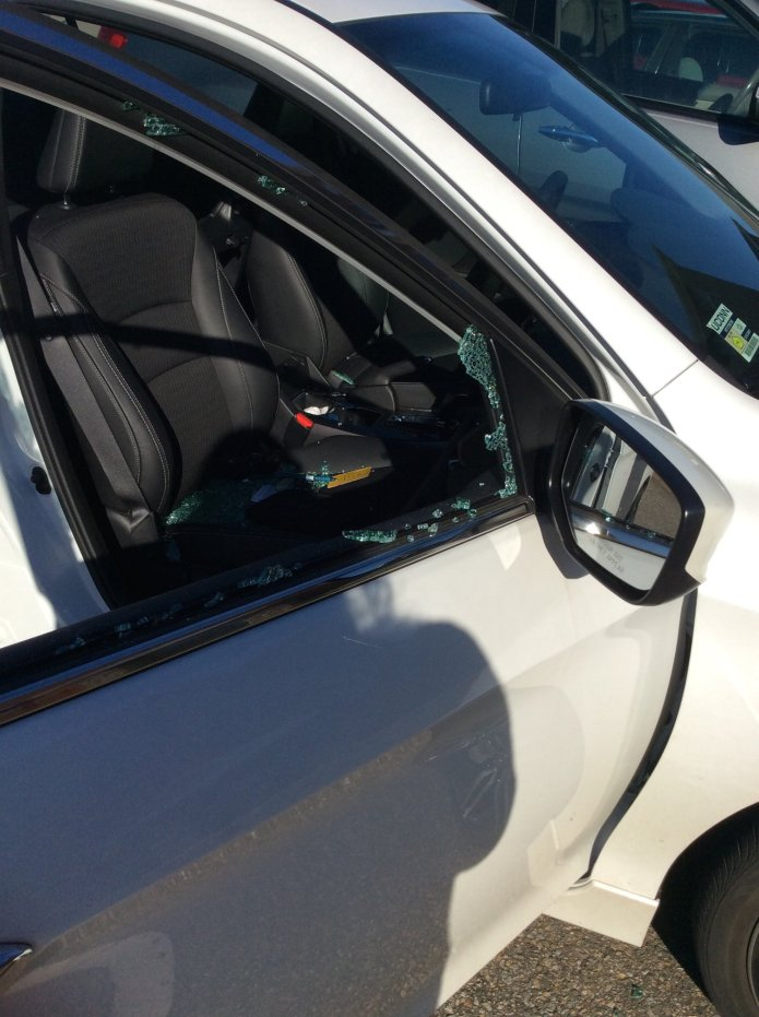 Five cars parked at Hilltop Apartments were vandalized early Monday morning. (Elizabeth Charash/The Daily Campus)