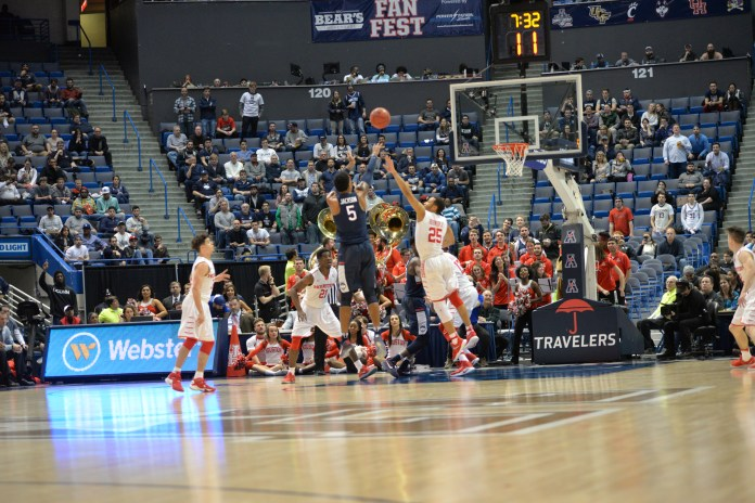 Vance Jackson takes a shot from the perimeter in UConn's 74-65 win over Houston in the second round of the American Athletic Conference tournament on Friday, March 10, 2017 at the XL Center in Hartford. (Amar Batra/The Daily Campus)