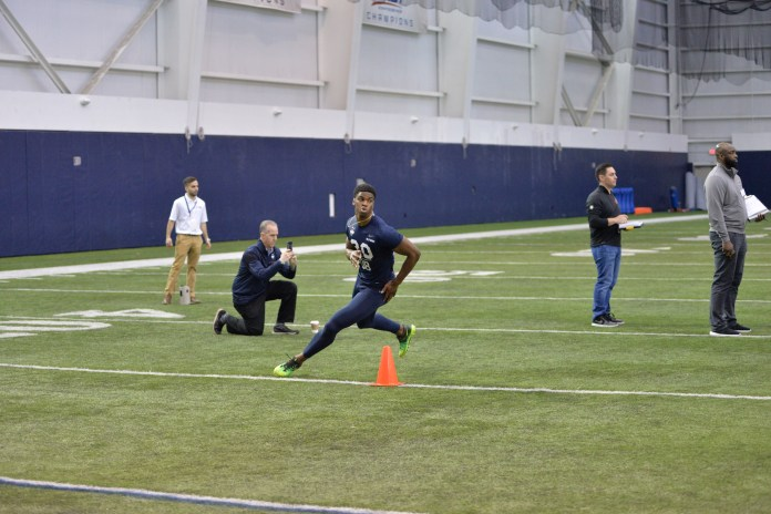 Defensive back Obi Melifonwu rounds the last cone in the shuttle run during the UConn Pro Scouting Day in the Shenkman Training Center on March 22, 2017. (Amar Batra/The Daily Campus)