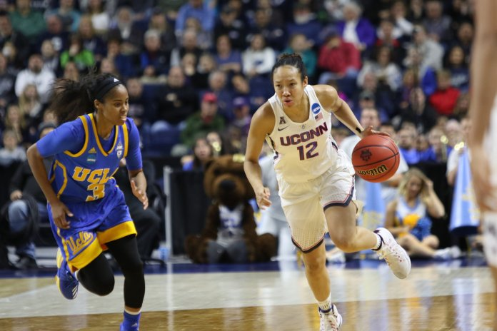 The UConn women's basketball team advanced to their 12th straight Elite 8 with an 86-71 win over No. 4 UCLA on Saturday afternoon at Webster Bank Arena in Bridgeport. The Huskies were led by sophomore forward Napheesa Collier, who scored 27 points, and will face Oregon Monday night for a chance to advance to the Final Four. (Jackson Haigis/The Daily Campus)