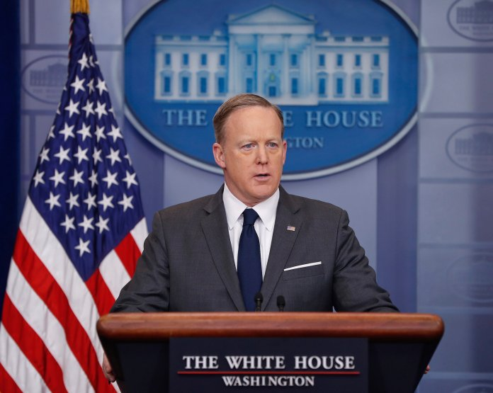 White House Press secretary Sean Spicer speaks to the media during the daily briefing in the Brady Press Briefing Room of the White House in Washington, Monday, March 27, 2017. (AP Photo/Pablo Martinez Monsivais)