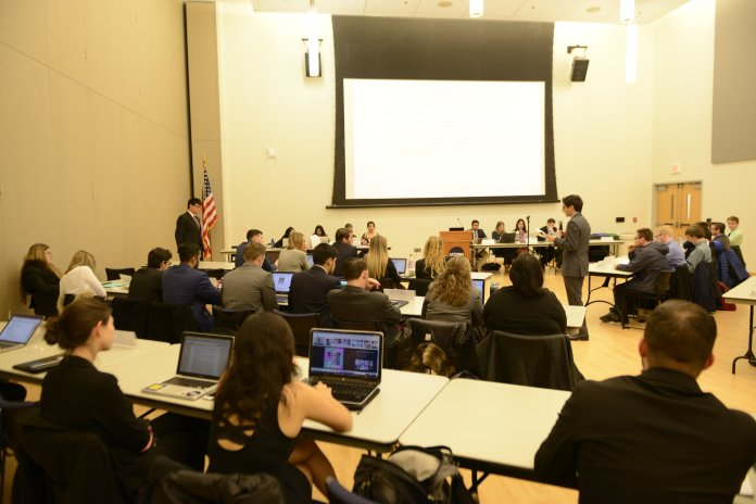 USG hosted their bi-weekly senate meeting in Student Union ballroom on Wednesday, March 22, 2017. Among the topics discussed were the constitution and how RA's can become senators. (Jason Jiang/The Daily Campus)