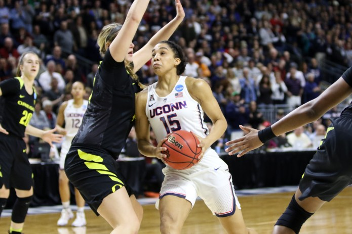 UConn forward Gabby Williams drives to the hoop to score 2 of her 25 points, which included a perfect 7-for-7 performance from the free throw line.