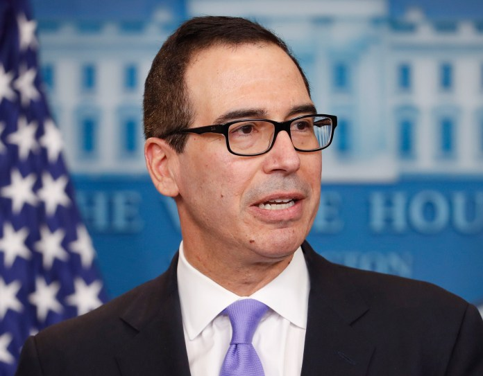 In this Feb. 14, 2017 file photo, Treasury Secretary Steven Mnuchin speaks to the media during the daily briefing in the Brady Press Briefing Room of the White House in Washington.(Pablo Martinez Monsivais/AP)