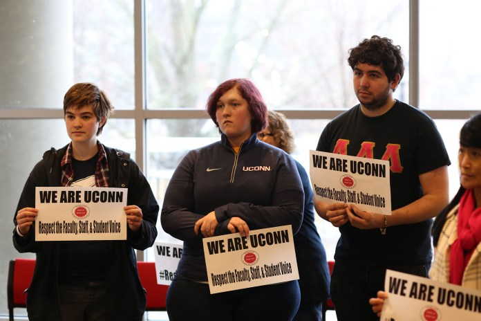 The University of Connecticut chapter of the American Association of University Professors held a rally on Wednesday morning in room 104 in the Student Union. (Jackson Haigis/The Daily Campus)