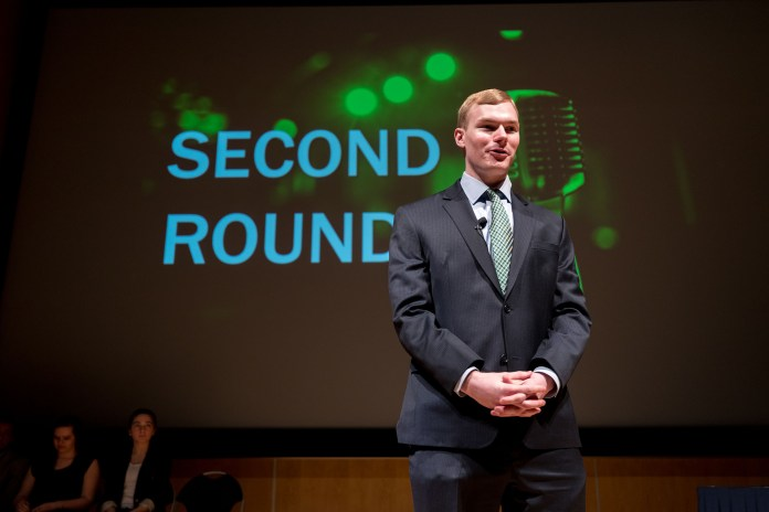 Edward Pankowski wins the UConn communications department's fourth annual public speaking competition in the Student Union Theatre in Storrs, CT, Monday, April 3, 2017. The event was hosted by Professor Rory McGloin and Sharde Davis. (Owen Bonaventura/The Daily Campus)