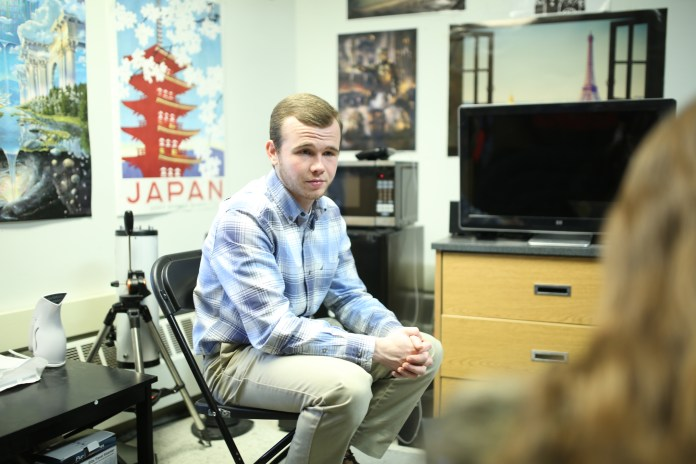 """Matthew Bader's inspiration to direct this play comes stems from sentimental reasons, as his dad introduced him to it at a young age and he grew up loving the play and film. """"It holds a special place in my heart"""". (Tyler Benton/The Daily Campus)"""