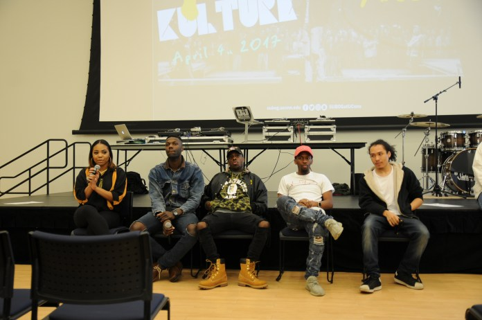 Tia Long, a journalist for Power Circle, talks with students about being a female music journalist in a male dominated world during SUBOG's '4 The Kulture' event on Tuesday evening. (Shyam Patel/The Daily Campus)