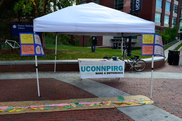 UConnPIRG ran an event on Fairfield Way in 2015 to gather signatures for a petition to reduce antibiotics in farming products. They are now working to preserve public funding in elections for statewide offices and the Connecticut General Assembly. (Olivia Stenger/The Daily Campus)