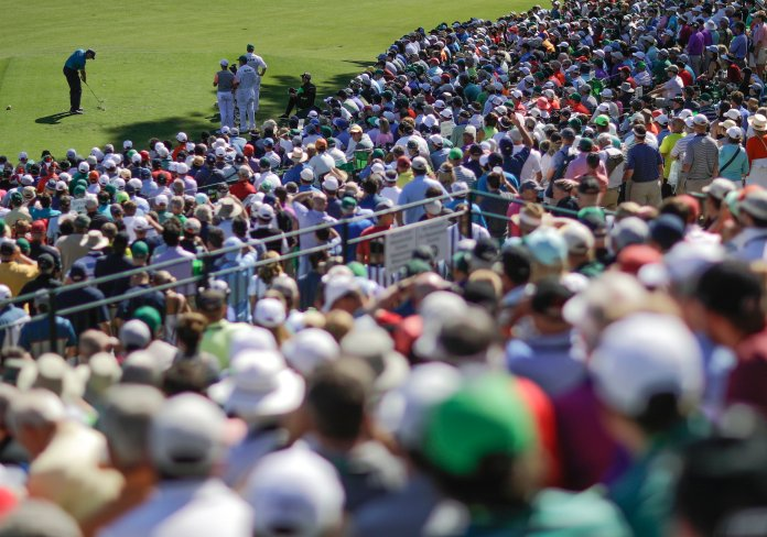 Matt Kuchar hits on the 12th hole during the final round of the Masters golf tournament Sunday, April 9, 2017, in Augusta, Ga. (AP Photo/David Goldman)