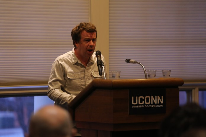 Kevin Barry, prominent Irish writer, gives this year Gerson Reading in the UConn Alumni Center on April 11, 2017. Gerson has collected many accolades over the years. (Tyler Benton/The Daily Campus)