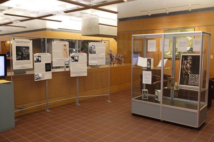 A new World War I art gallery is put up in Homer Babbidge Library commemorating US entry into WWI. (Tyler Benton/The Daily Campus)