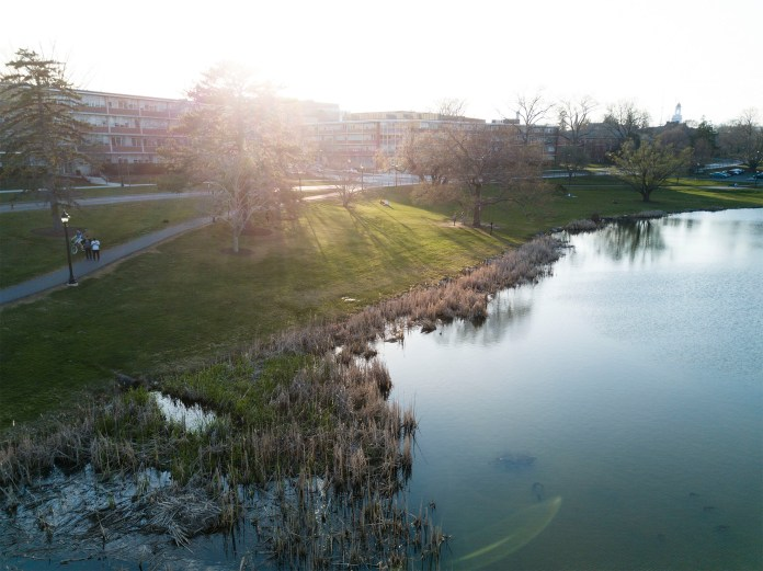 Drone shot of UConn's beautiful Mirror Lake. (Tyler Benton/The Daily Campus)