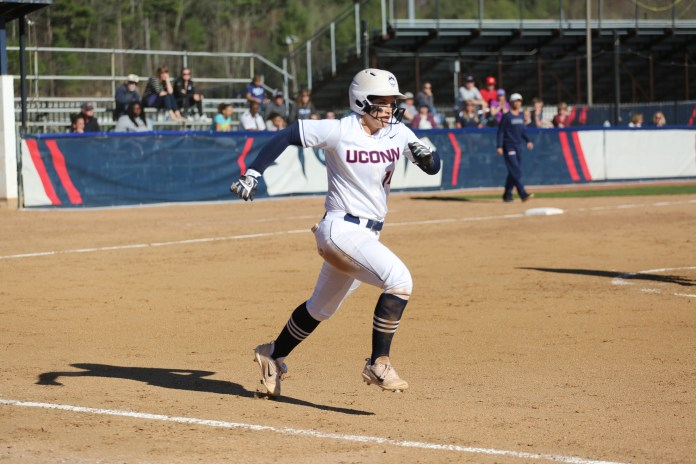 The Huskies defeat UMass 7-1 on Tuesday, April 18, 2017 at Burrill Family Field. (Tyler Benton/The Daily Campus)