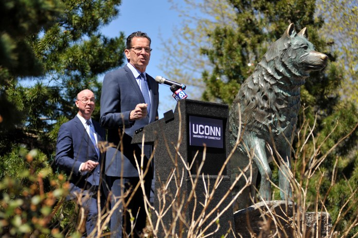 Governor Dannel Malloy talks about energy efficiency at UConn on Earth Day on Tuesday, April 18, 2017. (Jason Jiang/The Daily Campus)