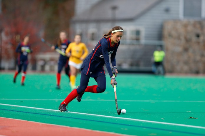 The Huskies take on QU at the Sherman Complex and pull off another win with a score of 5-1. Pictured is Charlotte Veitner (number 26). (Tyler Benton/ The Daily Campus)